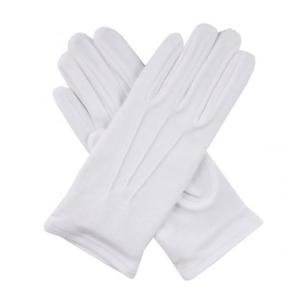 Хлопчатобумажные перчатки белые со строчкой